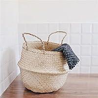 KING DO WAY 32x28cm原色 収納バスケット 収納バッグ 折り畳み ストローバスケット 編み 鉢カバー 洗濯物バスケット おもちゃ収納