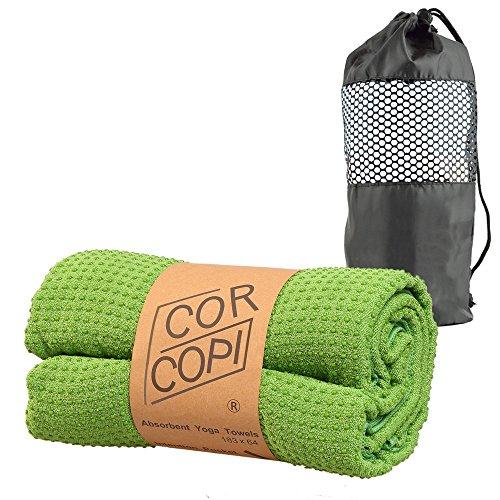 CORCOPI ヨガタオル ホットヨガ ヨガラグ 速乾 タオル メッシュバッグ 付き 滑り止め 心地良さ抜群 マイクロファイバー 全5色 緑