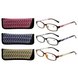 Eyekepper Readers 3 Pack Of Womens Reading Glasses With Beautiful Pattern And Soft Case For Ladies +1.50