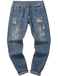 HZOTB ジーンズ ダメージジーンズ メンズ スキニーデニム ジーパン ストレッチ パンツ