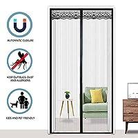 磁気フライスクリーンドア、ポリエステル磁気ドアフライスクリーンカーテン、フルフレームベルクロ/蚊帳用バルコニーリビングルームパティオドア,90x200cm(35x79inch)