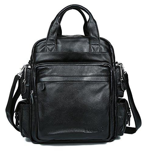(タイディング)TIDING 3WAY ソフト 本革 牛革 レザー メンズ 男女兼用 レディース リュックサックディパック バッグパック ビジネス ブリーフケース  ショルダー メッセンジャーバッグ 16PC対応 A4書類 ラベル旅行鞄 ブラック 黒系