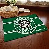 Starbucks スターバックス ロゴ 屋内 室内 用 手触りが優しい フランネルラグ ラグマット 滑り止め 付き 40*60cm グリーン [並行輸入品]