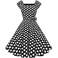 MODECRUSH Women Vintage 1950s Square Neck Cocktail Rockabilly Prom Dress