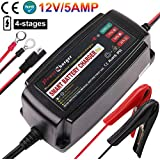 12V 5A Trickle Battery Charger, Battery Maintainer for Car, Automobile, Motorcycle, Lawnmower, Marine, Boat, ATV, RV, UTV, Ride-on Toy, SLA, GEL, VRLA, Wet, Sealed Lead Acid, AGM Battery Charger