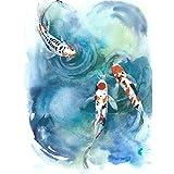 Japanese Koi Fish Near Surface Unframed Wall Art Print Poster Home Decor 日本人魚壁ポスターホームデコ