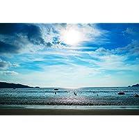ビーチで晴れた日ビーチ - #41357 - キャンバス印刷アートポスター 写真 部屋インテリア絵画 ポスター 50cmx33cm