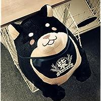 HuaQingPiJu-JP 赤ちゃんの人気ぬいぐるみ柴犬ぬいぐるみ芝生ぬいぐるみ芝生ぬいぐるみギフト38cm背の高い(黒)