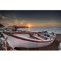 夕日のビーチでボート写真 - #35438 - キャンバス印刷アートポスター 写真 部屋インテリア絵画 ポスター 50cmx33cm