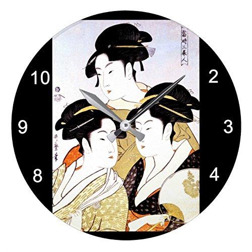 喜多川歌麿『 寛政三美人 』の壁掛け時計:ピクチャークロック(浮世絵シリーズ) (B) [並行輸入品]