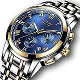 LIGE メンズ腕時計 ステンレススチール アナログ 防水ウォッチ 日付表示 クロノグラフ ビジネス カジュアル ファッション 男性 時計 メンズ