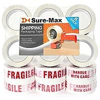 sure-maxプレミアムFragile印刷テープ2.0Mil 330Feet (110Yards)–ホワイト/レッド–18Rolls