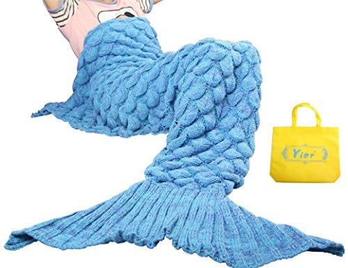Yier 毛布 ブランケット ケット お昼寝毛布 ウロコ 人魚姫に変身 人魚コスチューム 人魚タイプ マーメイド 着る毛布 柔らかい 防寒 大人用 -ブルー