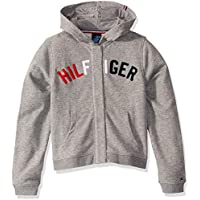Tommy Hilfiger Girls' Little Adaptive Hoodie Sweatshirt with Magnetic Buttons, MED Grey Heather