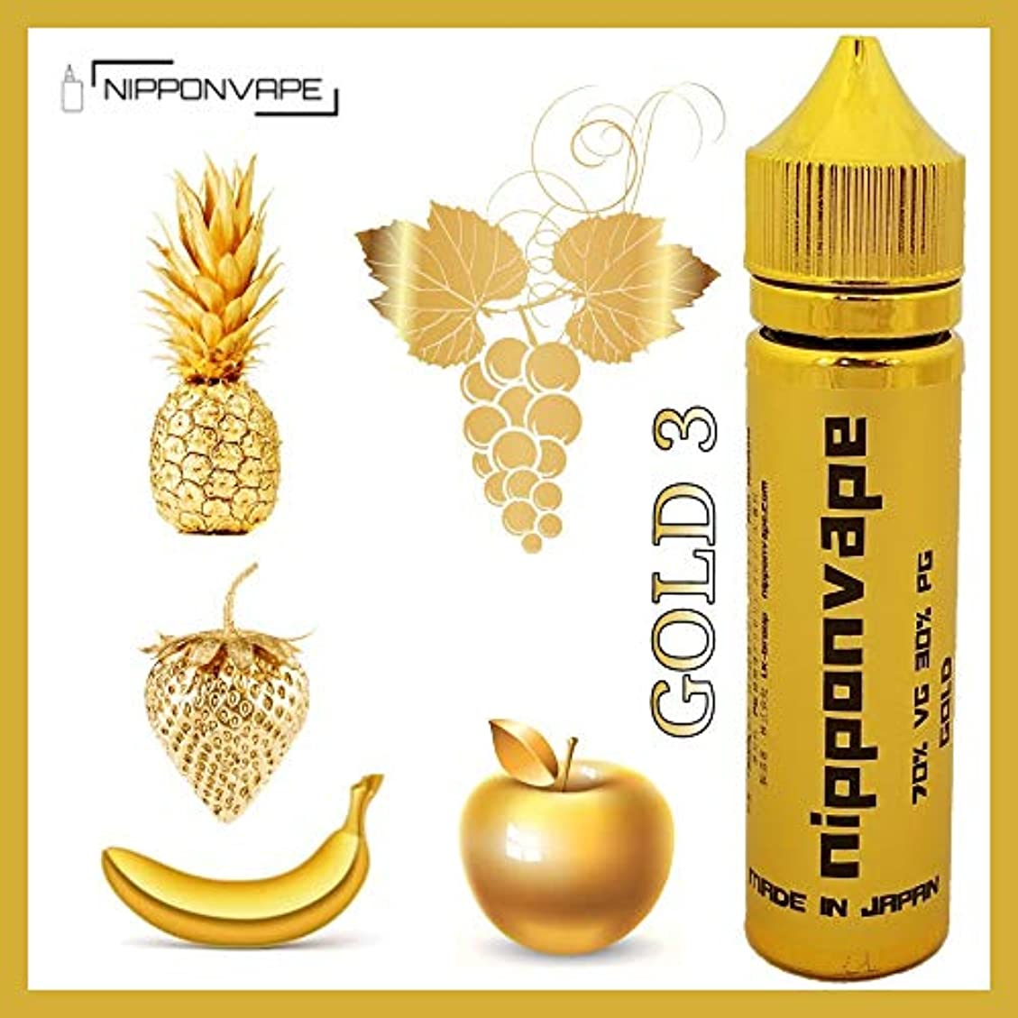 展示会葉っぱキャッシュ60ML 電子タバコ リキッド プレミアム ゴールド シリーズ ミックス フルーツ MIX FRUITS NIPPONVAPE GOLD 3