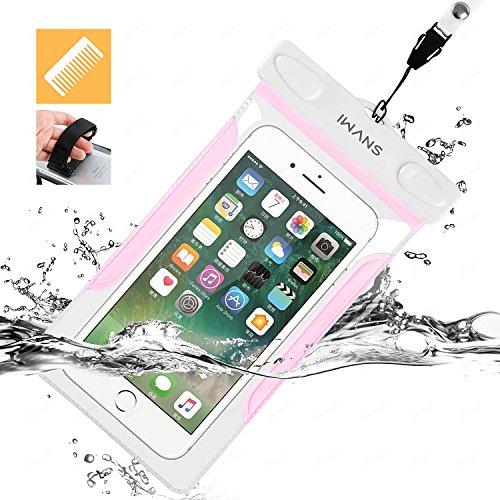 iWANS 防水ケース スマホ用防水ポーチ 防水等級IPX8 高感度PVCタッチスクリーン お風呂 温泉 潜水 5.5インチまでのiPhoneとAndroidスマホに対応可能 PINK