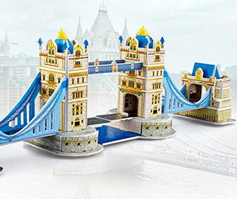HuaQingPiJu-JP 創造的な教育3Dパズルアーリーラーニング建設子供のためのおもちゃファンタスティックギフト(ロンドンブリッジ)