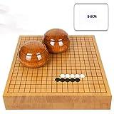 RACHELLE Yunzi Go チェスセット 無垢材彫刻 両面チェスボード 無垢材タンク付きニューユンジ (カラー:B サイズ:8cm)