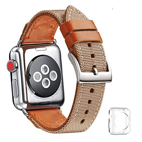 WFEAGL コンパチブル Apple Watch バンド,は本革のナイロンレザーを使い、iWatch Series4/3/2/1、Sport、Edition向けのバンド交換ストラップです コンパチブル アップルウォッチ バンド (42mm 44mm, カーキ ナイロン+ブラウン 本革)