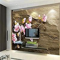 Ansyny 救済マグノリア花つる砂岩テレビ背景壁カスタム大壁画緑壁紙-220X140CM