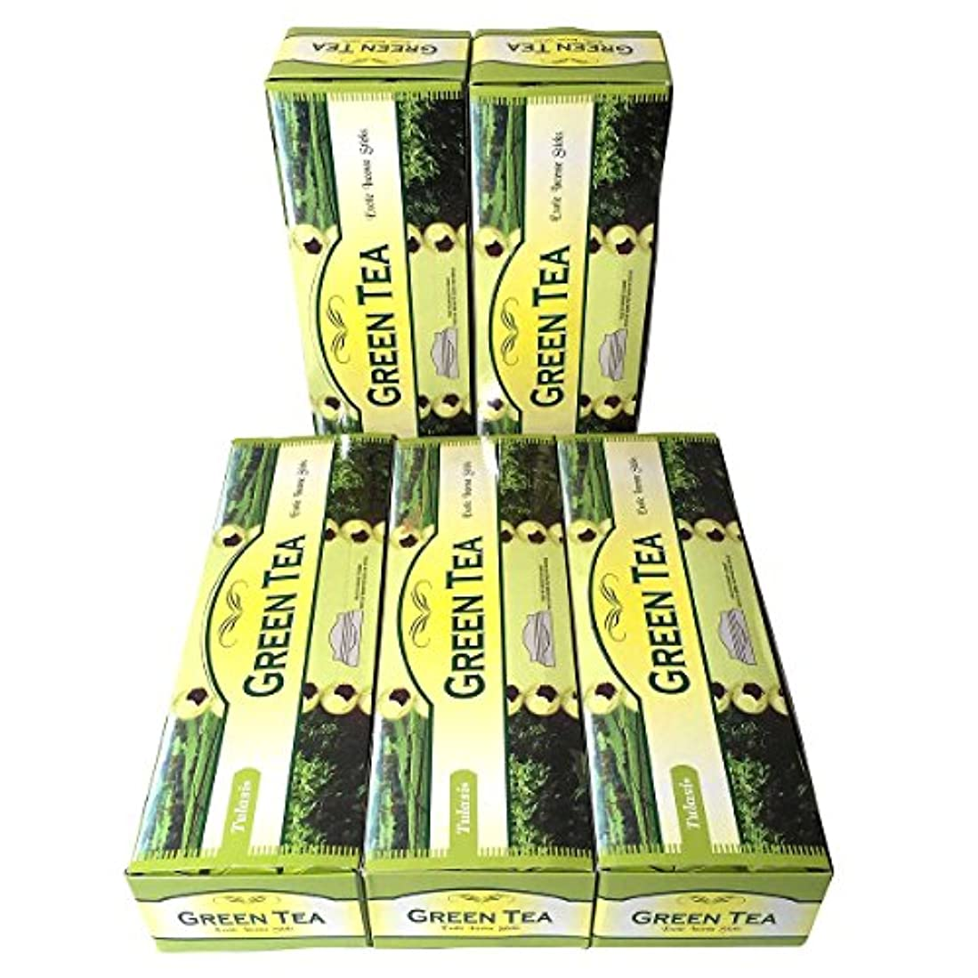 地元柔らかい足防衛グリーンティー香スティック 5BOX(30箱)/TULASI GREEN TEA/ インド香 / 送料無料 [並行輸入品]
