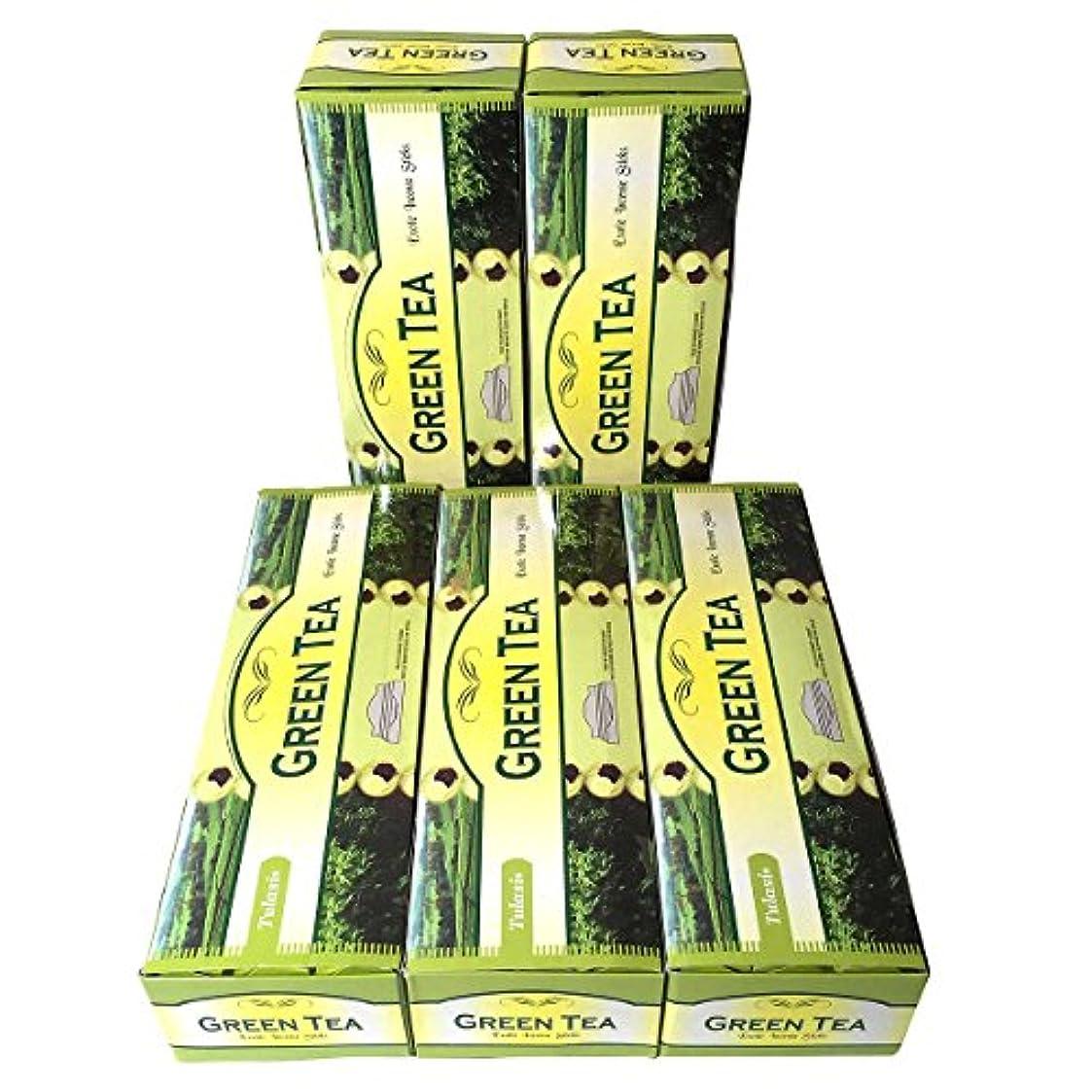 案件特権失礼なグリーンティー香スティック 5BOX(30箱)/TULASI GREEN TEA/ インド香 / 送料無料 [並行輸入品]