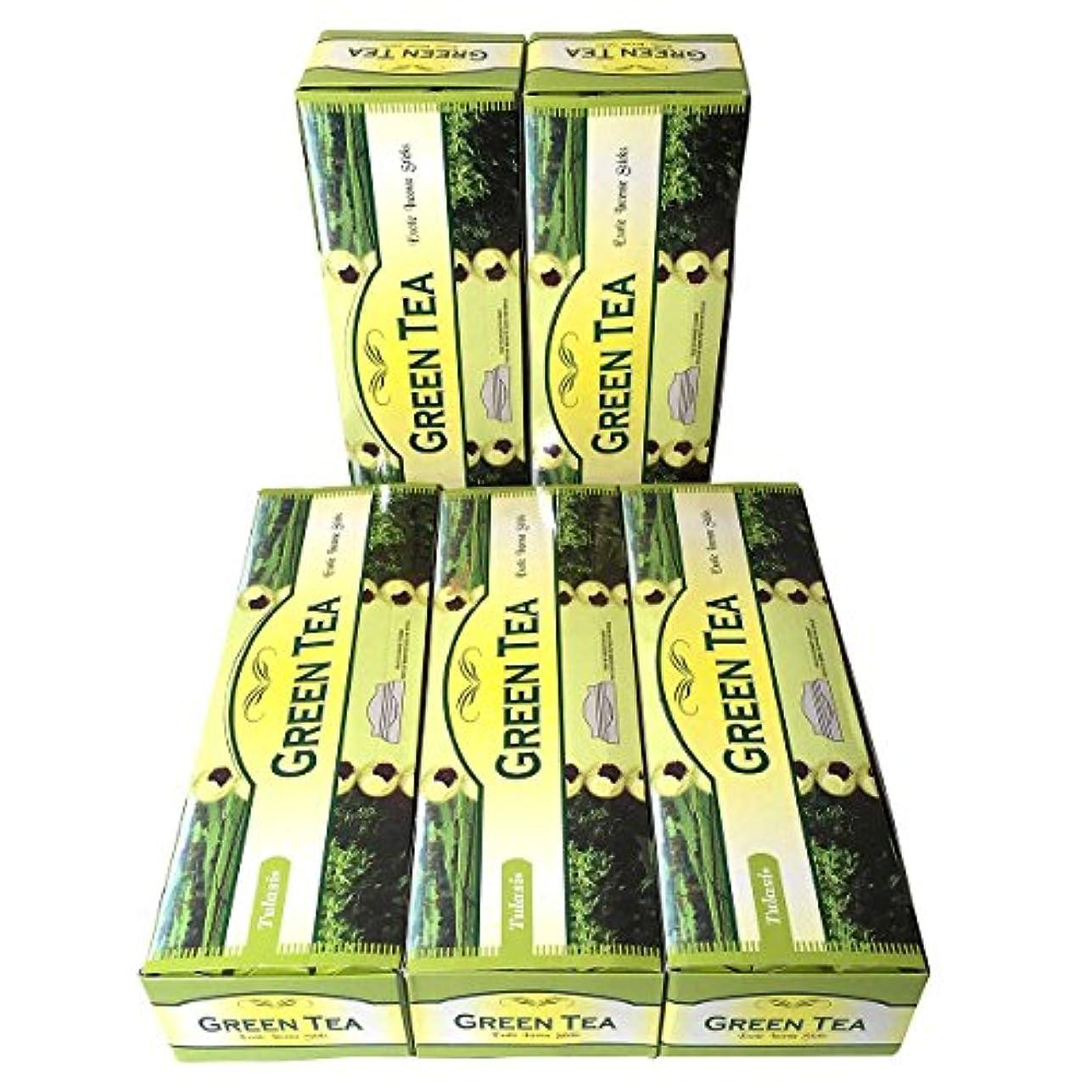 矛盾する平方少ないグリーンティー香スティック 5BOX(30箱)/TULASI GREEN TEA/ インド香 / 送料無料 [並行輸入品]