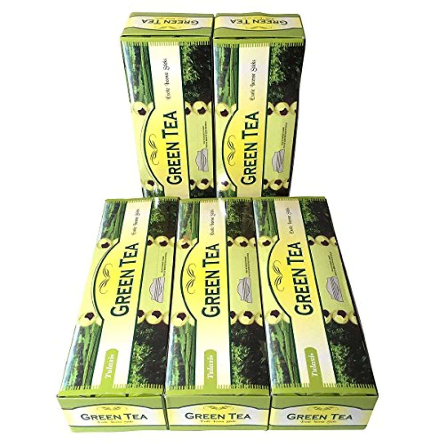 シェア割合チャームグリーンティー香スティック 5BOX(30箱)/TULASI GREEN TEA/ インド香 / 送料無料 [並行輸入品]