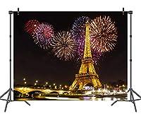 ホットクイーン 7x5フィート パリテーマ 誕生日背景 写真撮影用 ゴールドエッフェル塔 花火 写真背景 ビニールフォトブース背景