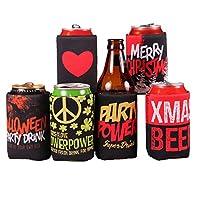 面白いビールクージー、ハッピーShole社会6個パックBeer Canクーラーwith Hilariousスローガン、Extra Thickネオプレン断熱飲料クーラー、トレンディ& Fun Filledギフトすべてのビールの恋人、ブラック