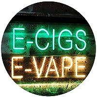 E-Cigs E-Vape Indoor Display Shop Dual LED看板 ネオンプレート サイン 標識 Green & Yellow 400 x 300 mm st6s43-i2073-gy