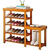 QFFL xiejia シンプルな家庭用ソリッドウッドの靴箱/玄関クリエイティブな多層/靴のスツール/バンブー防塵倉庫/防湿靴掛け (色 : A, サイズ さいず : 80CM)