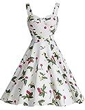 Dresstell(ドレステル) レディーズ エレガント 純色 花柄 水玉柄 シャーリング スイング ミディ ワンピース Aラインのスカート ストラップ お呼ばれ 結婚式ドレス 発表会ドレス ホワイト小柄チェリー Mサイズ