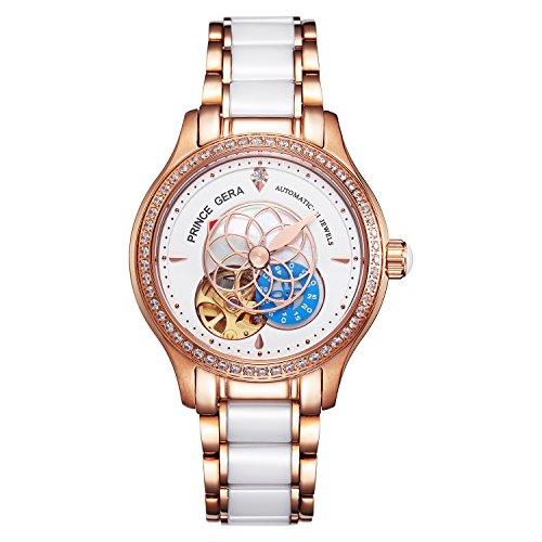 腕時計 レディース PRINCE GERA 高級 機械式 自動巻き 防水 花 ダイヤ 女性 ウォッチ (ピンク2) [並行輸入品]