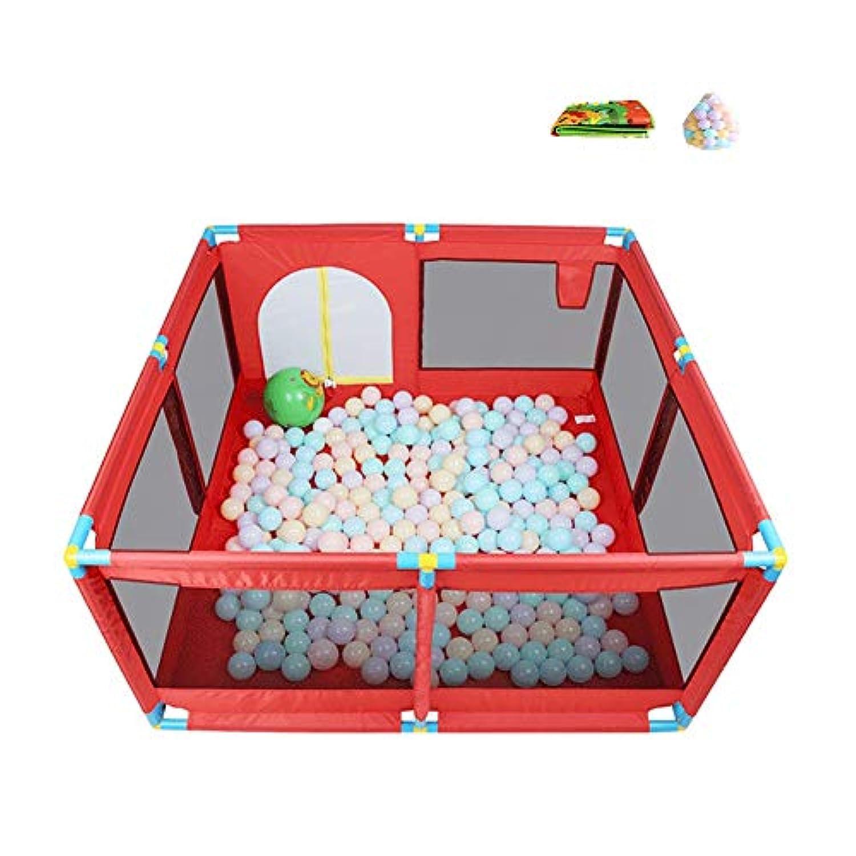 ベビーサークル 子供用プレイヤード8パネルベビープレイペン屋内子供の安全フェンス子供の家庭用クロールマット200ボール (色 : Red)