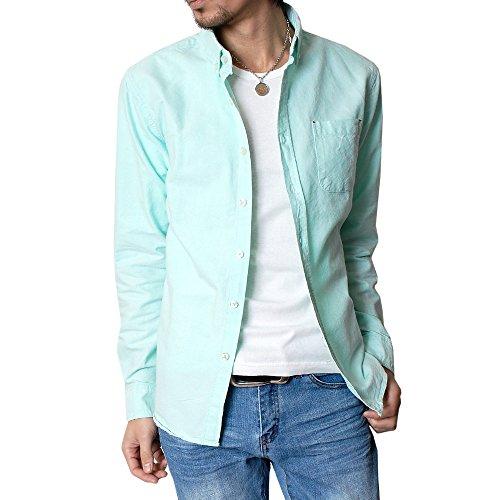 (ハイクオリティプロダクト) High quality product メンズ オックスフォードボタンダウンシャツ コットンシャツ カジュアルシャツ グリーン Mサイズ