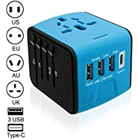 Luxebell 海外旅行充電器 海外旅行用変換プラグ 3USBポートとType-Cポート付(100V~240V) 世界150カ国に対応 安全旅行充電器(US/UK/EU/AU)