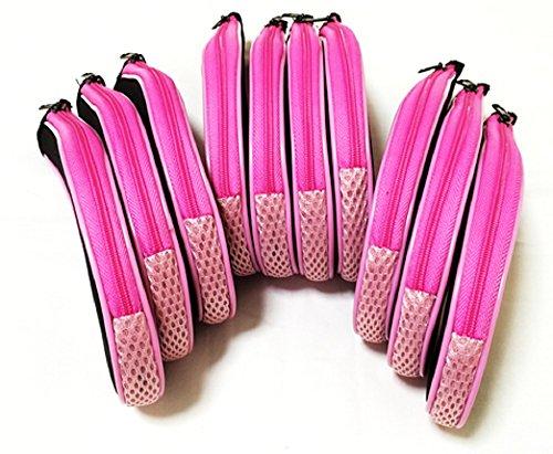 ファスナー タイプ アイアン カバー 番手 刺繍 入り 10個セット (黒×ピンク)