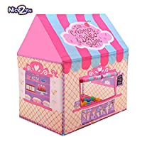 Nice2you 折りたたみ式 キッズテントおもちゃハウス Kid Tent Playhouse 部屋 屋内 プレゼント子供用テント Kids Tent 女の子テント 玩具収納 秘密基地 知育玩具 おままごと 隠れん坊ゲーム 遊び小屋 テント (Pink)