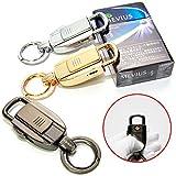 CarOver USBライター 搭載 ダブル キーリング キーストラップ キーホルダー 車 鍵 アウトドア 全3色 (シルバー) CO-ZB-8755-SV
