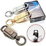 CarOver USBライター 搭載 ダブル キーリング キーストラップ キーホルダー 車 鍵 アウトドア 全3色 (ゴールド) CO-ZB-8755-GD