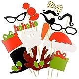 17 Pcs DIYカラフルな黒板写真ブース小道具on a Stick口ひげヒゲ唇Eyeglasses for Fun Wedding Favorクリスマス誕生日パーティーFavorアクセサリー