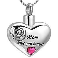 MOM Love You Foreverハート火葬ペンダントメモリアルネックレス灰ホルダーUrn記念品ジュエリーFree刻印