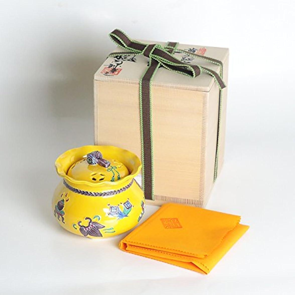 豆腐ポイントワックス清水焼 京焼 香炉 「黄交趾宝袋」 川本屋茶舗