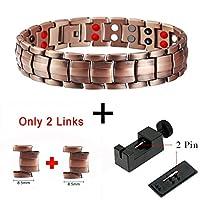 健康ブレスレットダブル行4で1バイオ要素エネルギー磁気ブレスレットメンズファッションヒーリング99.95%純粋な銅ブレスレットバングル (10210 set)