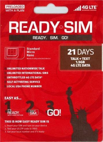 アメリカ プリペイド SIM Ready SIMカード Nanoサイズ!アクティベーションが簡単!アメリカ国内通話定額、データ通信定額! (通話とSMS、データ通信1.5GB 21日間)