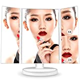 コノビヤ LED 化粧鏡 三面鏡 ミラー 女優 鏡 卓上 スタンドミラー タッチセンサー 2&3&10倍拡大鏡付き 21LEDライト搭載 明るさ調節可能 180度回転 持ち運び便利 USB/単三電池給電