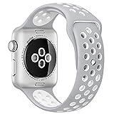 Apple Watch スポーツバンド, Gersymi® スポーツバンド 交換バンド 対応 アップルウォッチ Nike+ / New Apple iWatch Series 2 / Apple Watch Series 1 (38mm, シルバー+ホワイト)