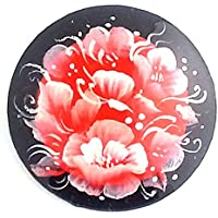 Flower traditional Russian hand painted Red Black Pin Brooch by BuyRussianGifts [並行輸入品]