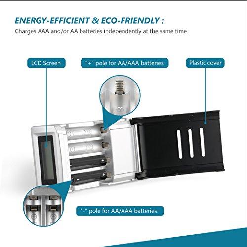 Novete 電池充電器(修復型)単3・単4両用型 (Amazonベーシック充電池、パナソニック eneloop充電池に適用) LCDディスプレイで充電状況が一目で分かる 過充電・過電圧保護 Defensor